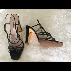CHANEL black patent leather strappy sandals
